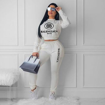 White BALENCIAGA Fashion Womens Long Sleeve Top Pants Two-Pieces