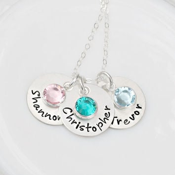 Personalized Birthstone Necklace - Hand Stamped Necklace - Mommy Necklace - Name Necklace - Hand Stamped Jewelry - Mothers Day Gift
