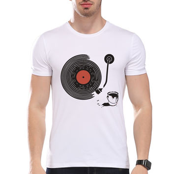 TEEHEART Men's Artistic Music Style Album Paint Print T-Shirt Men Summer Modal Hipster Tees la300