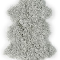 Rockwall Mongolian Sheepskin Faux Fur Single 2x3 Rug - Sage Grey | HauteLook
