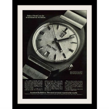 "1970 Bulova Accutron Watch Ad ""Physics Freak"" Vintage Advertisement Print"