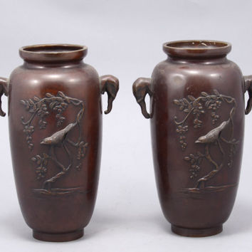 Japanese Art - Pair of Antique Japanese Bronze Vases