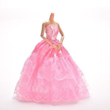 1 Pcs Lace Pink Party Grown Dress for Pincess Barbies 2 Layers Girl's Gifts HU