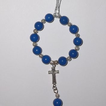 Blue Glass Beaded  Hand Crafted Tibetan Silver Car / Pocket Rosary