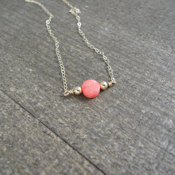 14k gold filled pink coral coin necklace / bridesmaid necklace / minimalist necklace / dainty necklace / October birthstone necklace