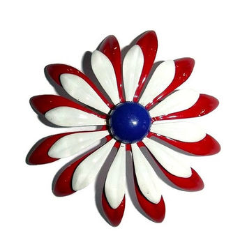 Vintage MOD Huge Daisy Brooch 60s Red White Blue Enamel Floral Pin Twiggy Flower Power Americana USA Patriotic 1960's Fashion Jewelry Gift