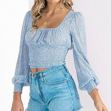 Casual Women Print Crop Tops and Blouse Female Long Sleeve Square Collar Blue Shirt Chic Blusa