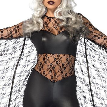 Bat Out Of Hell Black Sheer Mesh Lace Long Sleeve Wing Wet Look Bodycon Jumpsuit Halloween Costume