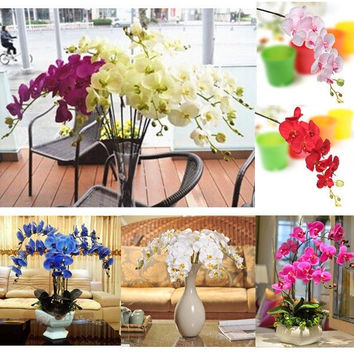 Artificial Silk Butterfly Orchid Flowers Stem Wedding Party Home Tabletop Desk = 1932933188