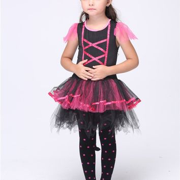 2016 Pink Cat Cosplay Costumes Halloween Stage Performance Child Costumes fantasia vestido Tutu dress Kids carnival party Outfit
