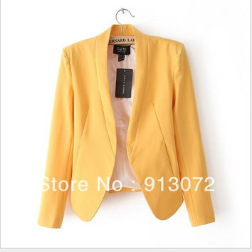 Women cute Candy Colors blazer basic suit long sleeve outwears casaco feminine stylish Notched office wear tops plus size CT272