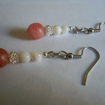 Renaissance Cherry Quartz Earrings White Ivory Mother of Pearl Shell Silver Filigree Jewelry