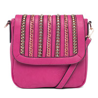 Fuchsia Embellished Flap Over Crossbody by MMS Design Studio