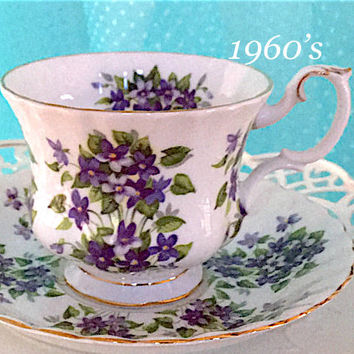 Vintage Teacup and Saucer, Royal Albert Teacup, 1960's Tea Cup and Saucer, Purple Violets Bone China, Wedding Bridal Shower Gift