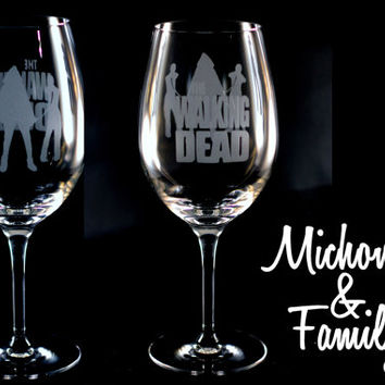 Set of 2 Walking Dead Etched Wine Glasses - Rick, Daryl, Michonne and Glenn & Maggie available