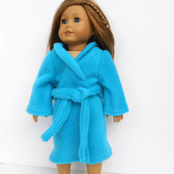 18 Inch Doll Clothes, Doll Robe, Teal Bathrobe, Teal Spa Robe, Doll Clothes, Winter Doll Clothes, fits American Girl Dolls