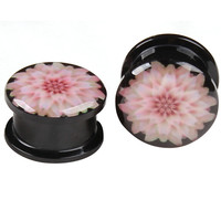 2pcs/lot Fashion Pink flowers logo flesh plug and tunnel  ear expander earrings gauge plugs mix 8-20mm body piercing jewelry