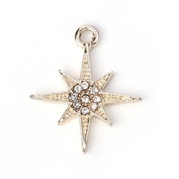 "Doreen Box Zinc Based Alloy Galaxy Charms Pendant Star Gold Color Clear Rhinestone Jewelry Making 25mm(1"") x 21mm( 7/8"") 10 PCs"
