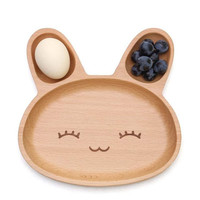 Cute Rabbit Wooden Plate for Kids - Nice Gift