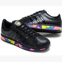 "Fashion ""Adidas"" Shell-toe Flats Sneakers Sport Shell-toe print Shoes Black(colorful s"