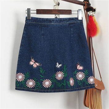 New  Fashion butterfly Floral Embroidery A-Line Skirt Mini Denim Skirts Woman Retro High Waist Skirts 72561 GS