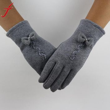 Feitong Brand Cotton Gloves 2017 Winter Warm Glove Women Bow Lace Decoration Wrist Thick Mitten Full Finger Touch Screen Glove#3