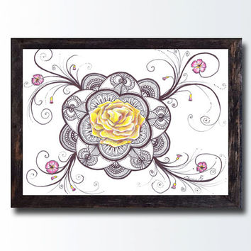 Zentangle Mandala Rose Drawing Energy Art PRINT, Mandala Yoga Room Decor, Healing Art, Sacred Geometry, Floral Flowers Rose Illustration