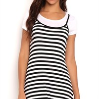 Layered Striped Spaghetti Strap Dress with Baby Tee