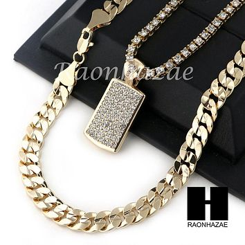 "MEN HIP HOP ICED OUT DOG TAG TENNIS CHAIN DIAMOND CUT 30"" CUBAN LINK CHAIN S51"