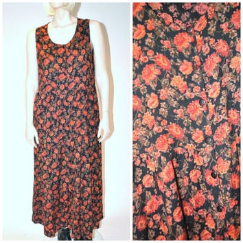AUTUMNAL floral INDIA duster dress / 90s grunge baby doll button down fall FLORAL rayon maxi dress