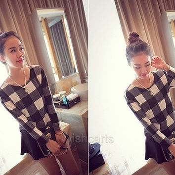 Plaid Print Round Neck Long Sleeve Casual Loose Short Blouse Tops T-Shirt Womens W_C [8045206215]