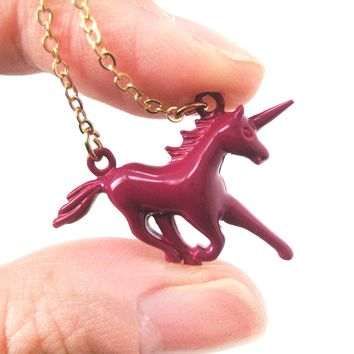 Unicorn Horse Animal Pendant Necklace in Maroon Red | Animal Jewelry