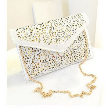 Women Cut Work Envelope Clutch With Metal Chain Shoulder Strap