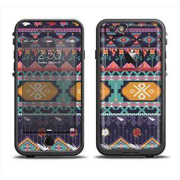 The Vector Purple and Colored Aztec pattern V4 Apple iPhone 6 LifeProof Fre Case Skin Set