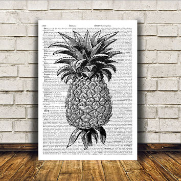 Pineapple poster Kitchen decor Antique art Retro print RTA110