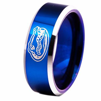 University of Florida Gators | UF | Tungsten Ring Band | Blue and Silver | 8MM