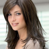 Deep Brown Side Parting Chic Heat-resistant Fiber Medium Wig