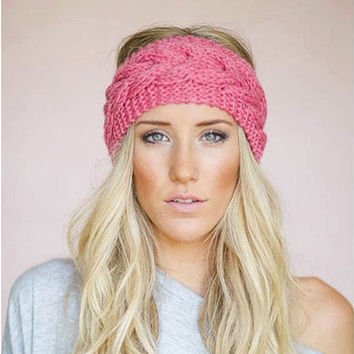 23 Colors Knitted Turban Headbands For Women Winter Warm Crochet Headband Head Wrap Wide Ear Warmer Hairband Hair Accessories [8833668428]
