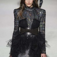 Black Sequins And Tulle Mini Dress