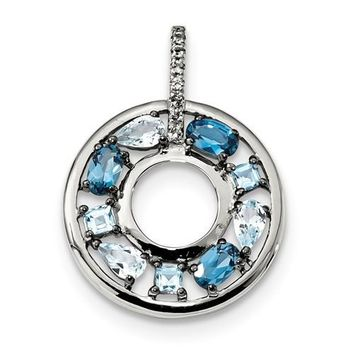 Sterling Silver Swiss Blue, Sky Blue & London Blue Topaz Circle Pendant