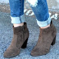 Walk The Line Booties - Chocolate