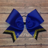 """3"""" Royal Blue Team Cheer Bow with Gold and Black Glitter Tail Stripes"""