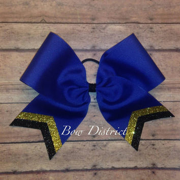 "3"" Royal Blue Team Cheer Bow with Gold and Black Glitter Tail Stripes"