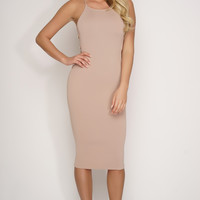 Tara Gold Metal Rib Knit Dress - Taupe