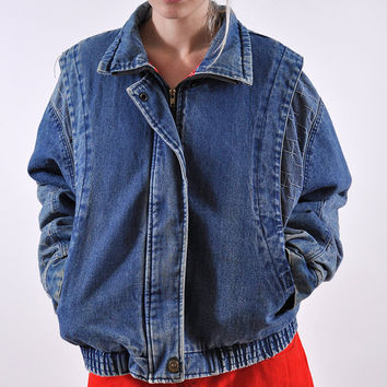 80s 90's Thick Heavy Winter Denim Oversized Jacket Plush Puffy Plaid Flannel Check Grunge