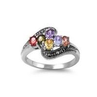High Fashion Sterling Silver Multicolor CZ Design Marcasite Ring