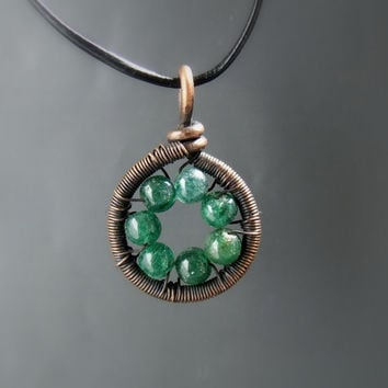 Aventurine necklace, healing stone jewelry, green stone necklace, copper pendant, holistic jewelry