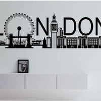 London Skyline Wall Decal Vinyl Art Home Decor England City Beautiful