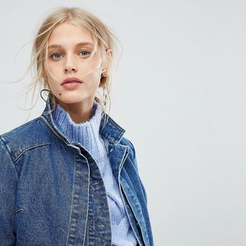 Current Air Denim Jacket with Overlay Detail at asos.com