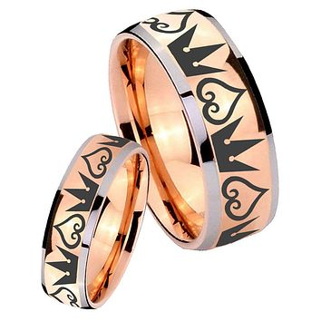 His Hers Rose Gold Dome Hearts and Crowns Two Tone Tungsten Wedding Rings Set